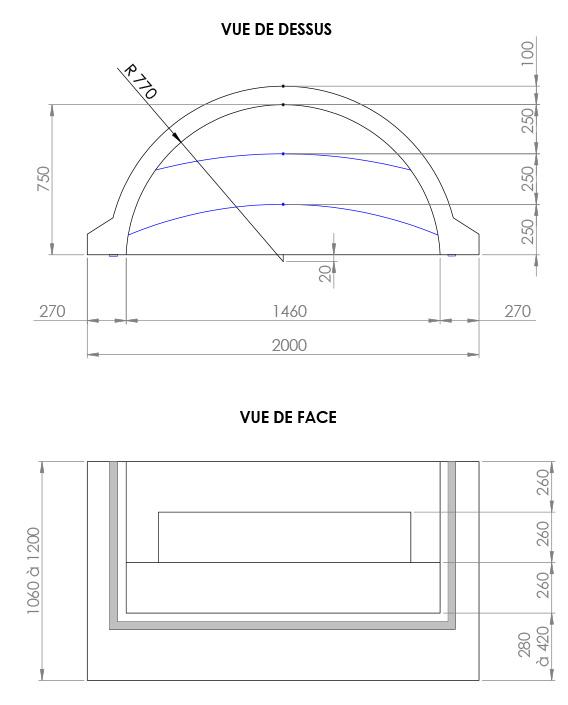 Escalier piscine Roman Classic 2.00m x H 1.20m