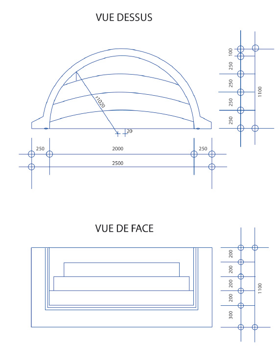 Escalier piscine Roman Classic 2.50m x H 1.20m
