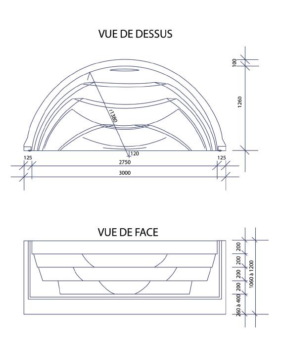 Escalier piscine Roman Transat 3.00m x H 1.20m