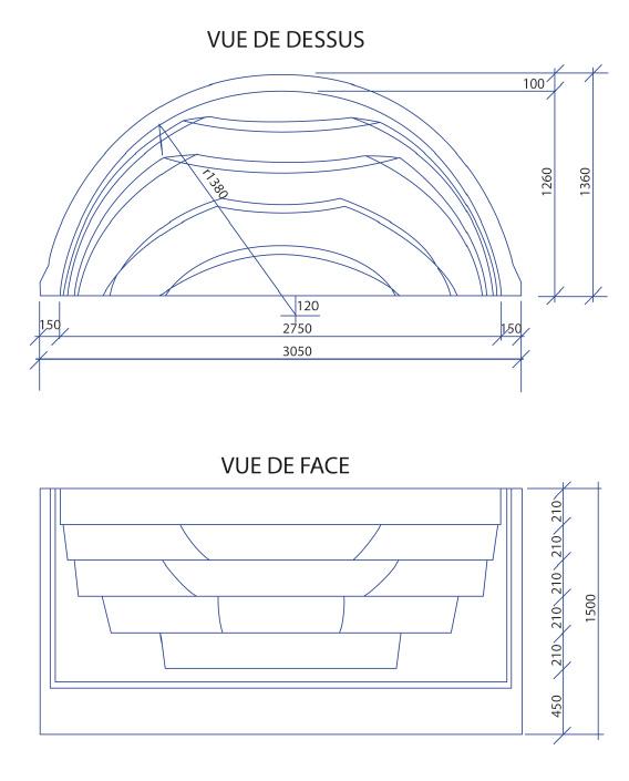 Escalier piscine Roman Transat 3.05m x H 1.50m