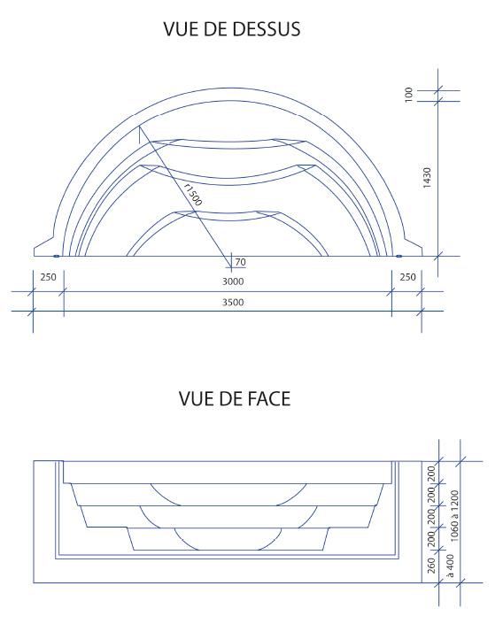 Escalier piscine Roman Transat 3.50m x H 1.20m