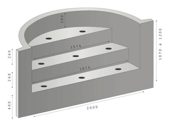 Escalier piscine sous liner ROMAN 250 – 3 marches