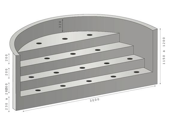 Escalier piscine sous liner ROMAN 320- 4 marches