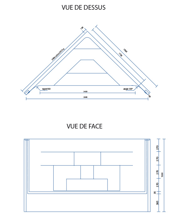 Escalier piscine Angle 2.00m x H 1.50m