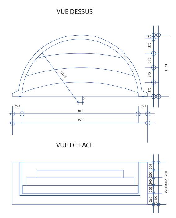 Escalier piscine Roman Classic 3.50m x H 1.20m