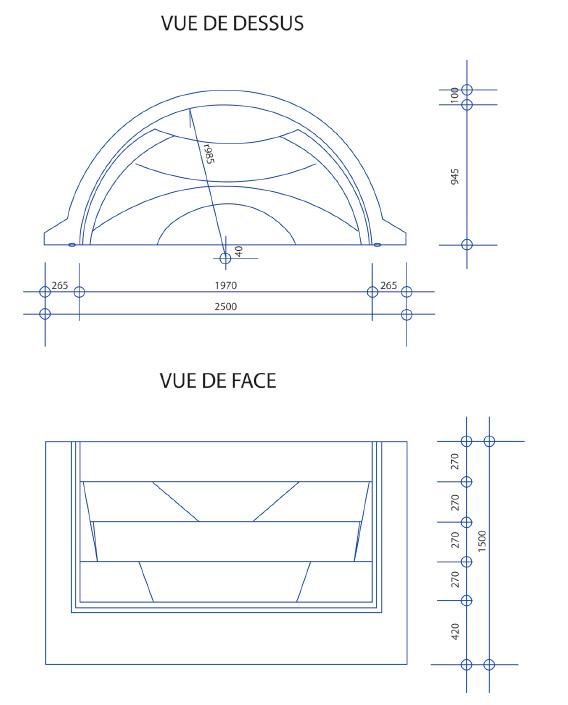 Escalier piscine Roman Transat 2.50m x H 1.50m