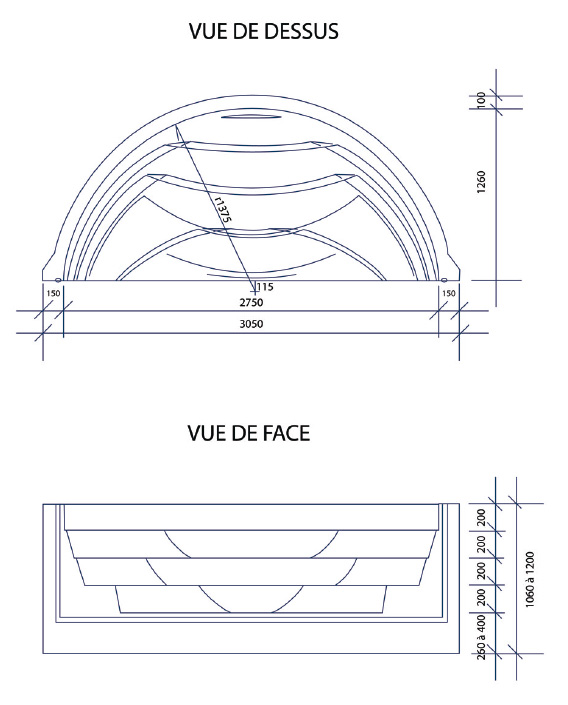 Escalier piscine Roman Transat 3.05m x H 1.20m