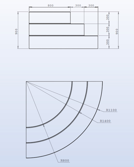 Escalier piscine sur liner Angle 1/4 de rond 3 marches